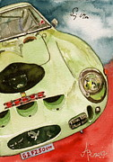 Ferrari Gto Posters - 62 Ferrari 250 GTO signed by Sir Stirling Moss Poster by Anna Ruzsan