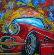 Corvette Paintings - 62 Vet by Patti Schermerhorn