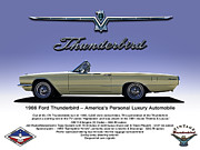 Vintage Digital Art Metal Prints - 66 Thunderbird Convertible Metal Print by Douglas Pittman