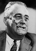 Eye Glasses Framed Prints - President Franklin D. Roosevelt Framed Print by Everett