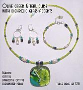 Fused Glass Mixed Media - Olive Green and Teal Glass with Dichroic Accents by Michelle Lake