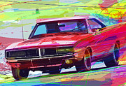American Culture Painting Prints - 69 Dodge Charger  Print by David Lloyd Glover