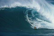 Athletes Posters - A Surfer Rides A Powerful Wave Poster by Patrick Mcfeeley
