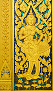 Painted Wood Reliefs Prints - Antique Thai temple mural patterns Print by Kanoksak Detboon