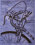 Blockprint Drawings - Bike 2 by William Cauthern