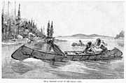 Canoe Drawings Metal Prints - Canada Fur Trade Metal Print by Granger