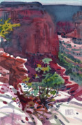 Canyon Painting Metal Prints - Canyon View Metal Print by Donald Maier
