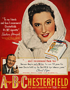 Endorsement Prints - Chesterfield Cigarette Ad Print by Granger