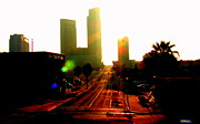 Cityscape Pyrography Prints - Cityscape Corpus Christi Texas  Print by James E Hoehne