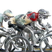 White Metal Prints - Cyclists Metal Print by Bernard Jaubert