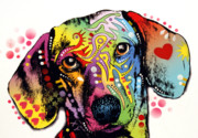 Dog Art Mixed Media Metal Prints - Dachshund Metal Print by Dean Russo