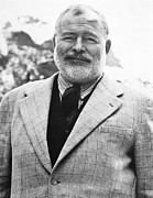Lapel Photo Posters - Ernest Hemingway Poster by Granger