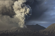 Volcanic Activity Framed Prints - Eruption Of Ash Cloud From Mount Bromo Framed Print by Richard Roscoe