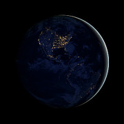 Full Earth At Night Showing City Lights Print by Stocktrek Images