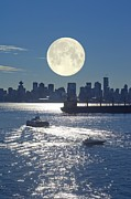 Sea Moon Full Moon Photo Posters - Full Moon Over Vancouver Poster by David Nunuk