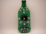 Mixed-media Glass Art - Glass Clock by ALEXANDR and NATALIA GORBACHEV