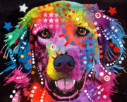Golden Mixed Media Posters - Golden Retriever Poster by Dean Russo
