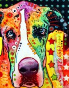 Portrait Mixed Media Metal Prints - Great Dane Metal Print by Dean Russo