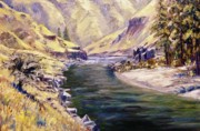 Salmon River Idaho Paintings - Lower Salmon River-Idaho by Tom Siebert
