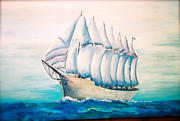 Old Sailing Ship Paintings - 7 Masted Schooner by Nadine Rippelmeyer