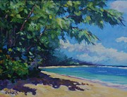 Caribbean Sea Painting Framed Prints - 7-Mile Beach Framed Print by John Clark