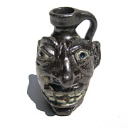 Wood Ceramics Prints - Miniature Face Jug Print by Stephen Hawks