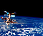 Space-craft Metal Prints - Mir Space Station Metal Print by Nasa