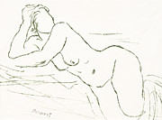 Voluptuous Drawings Prints - Nude Print by Aljo Beran