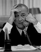 Gestures Framed Prints - President Lyndon Johnson Framed Print by Everett