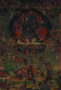 Tibetan Buddhism Paintings - Qing Dynasty Thang-ga  Tibet by He Hong