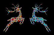 Drawn Digital Art Prints - Reindeer design by snowflakes Print by Setsiri Silapasuwanchai
