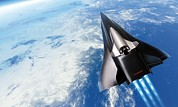 Saenger Metal Prints - Saenger Horus Spaceplane, Artwork Metal Print by Detlev Van Ravenswaay