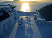 Greetingcard Framed Prints - Sunset Santorini Greece Framed Print by Colette V Hera  Guggenheim