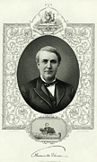 Thomas Alva Edison Framed Prints - Thomas Edison, Us Inventor Framed Print by Humanities & Social Sciences Librarynew York Public Library