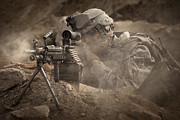 Ledge Photos - U.s. Army Ranger In Afghanistan Combat by Tom Weber
