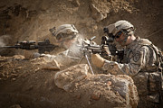 Ledge Photos - U.s. Army Rangers In Afghanistan Combat by Tom Weber