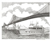 Adventure Drawings Posters - 70 foot Hatteras San Francisco Adventure Poster by Jack Pumphrey