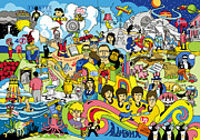 Rock And Roll Music Prints - 70 illustrated Beatles song titles Print by Ron Magnes