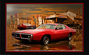 Muscle Car Mopar 1973 Dodge Digital Art - 73 Dodge by John Breen