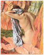 Bathing Pastels - After the Bath by Edgar Degas