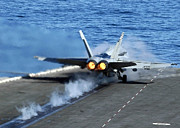 Carrier Prints - An Fa-18c Hornet Launches Print by Stocktrek Images
