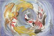 Asia Pastels - 8 Carps in Feeding Frenzy by Dindin Coscolluela