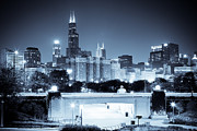 Overpass Framed Prints - Chicago Skyline at Night Framed Print by Paul Velgos