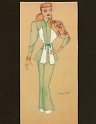 Pants Drawings Posters - Fashions of the 1940s Poster by Yvette Pichette