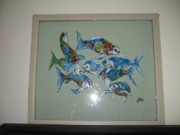 Paint Glass Art - 8 Fishes In Clear Water by Jeff Sie