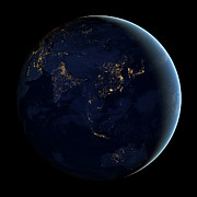 Terrestrial Sphere Posters - Full Earth At Night Showing City Lights Poster by Stocktrek Images