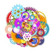 Meshed Digital Art Prints - Gears Wheels Design  Print by Setsiri Silapasuwanchai