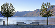Benches Prints - Lake Maggiore Print by Joana Kruse