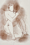 Fine Point  Drawings Metal Prints - Nude Metal Print by Aljo Beran
