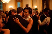 Barack Obama Metal Prints - President And Michelle Obama Dance Metal Print by Everett